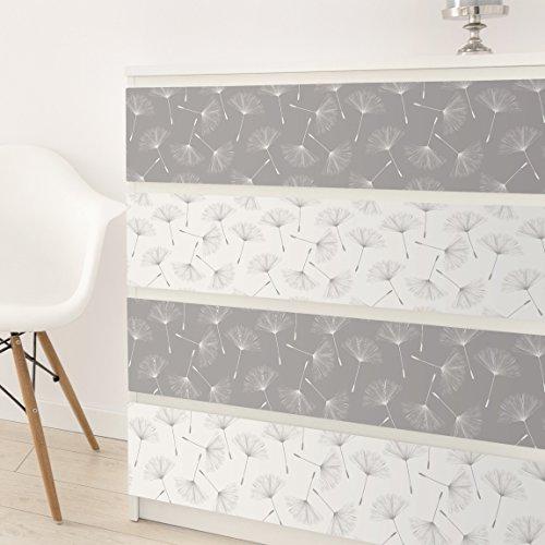 Carta Adesiva per Mobili - Dandelion pattern set in agate grey and ...