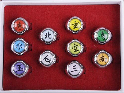 NuoYa005 NEW 10PCS Naruto Rings Black Akatsuki Ring Set Sasori Itachi Hidan Deidara Cosplay member's Ring Set by NuoYa (Naruto Ringe)