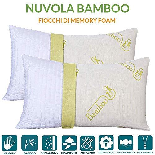Evergreenweb ✅ coppia cuscini letto in memory foam e fodera in fibra di bambu sfoderabili 40x70 h 12 cm imbottitura effetto piuma con fiocchi 100% schiuma a memoria cervicale 2 guanciali nuvola bamboo