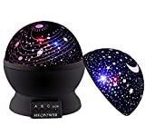 Night Ligthing Lamp, MKQPOWER Romantic 3 Modes Colorful LED Moon Sky Star +Dreamer Desk Rotating Cosmos Starlight Projector for Children Kids Baby Bedroom (Black)
