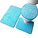 aikesi 3Sets 3d Schminktisch Badeteppich Abdeckung einseitiges Flanell Teppich Teppich Badezimmer-Teppich saugstark rutschfester Teppich WC-Set