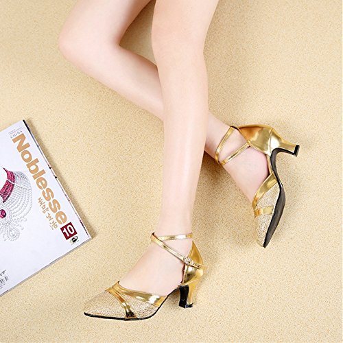 Xpy & Dgx Danse Latine, Chaussures À Talons Hauts Carrés Pour Adultes Grandes Chaussures De Danse Femme Or, Chaussures De Danse Avec Des Chaussures Modernes Bas, 4 250 Mm