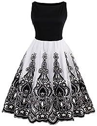 Babyonlinedress Vestido vintage y casual cuello horizontal sin mangas falda de tul con bordados a los años 50 vestido de fiesta para bodas