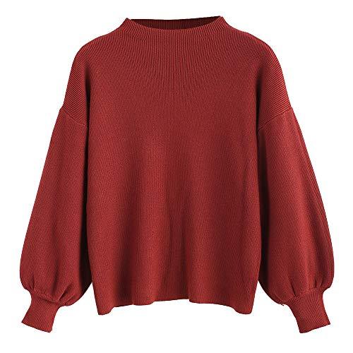 ZAFUL Maglione Donna Tinta Unita Pullover Elegante Felpa con Manica Lanterna Autunno e Inverno Camicetta Girocollo (Vino Rosso)