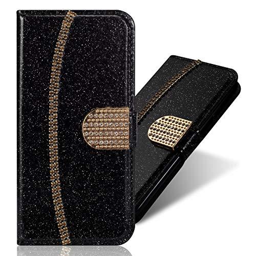 Pocket Funkeln Bling Glitzer Diamant Flip für Samsung S8,Ansehnliche Modisch BookStyle Slim Hülle Ledertasche Scratch Bumper Folio Wallet Stand Card Slots Leder Etui Case Thin Stand