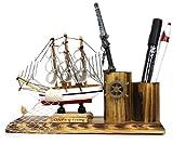 Segelschiff mit Stifthalter Schreibtischorganizer Schreibtischständer Maritim