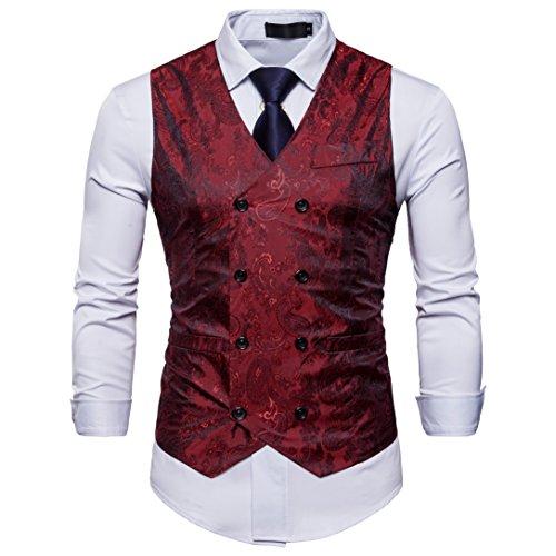 Elfenbein Weste (Showu Herren Paisley Weste Slim Fit Geschäft Hochzeit Elegant Anzugweste Stil Blazer (Rot, S))