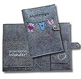 """Mutterpasshülle Deluxe""""Wäscheleine"""" aus 100% Wollfilz - nur passend für den deutschen Mutterpass -"""