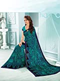 Ankit Fashions Light Blue Georgette Printed Saree