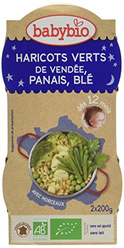 Babybio Bols Haricots Verts/Panais du Val de Loire/Blé 400 g - Lot de 6