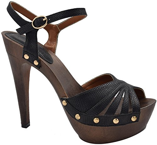 Maxmuxun Chaussures Femme Sandales Haut Talon Avec Rivet EU 36-41 DBlack