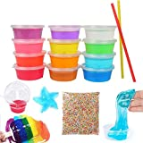 IMISNO 12 Colors Clay Slime Toys,Kids Magic Foam Balls For Putty Toys, For All Your Soft Rubber Making Gift Kit Party Bundle