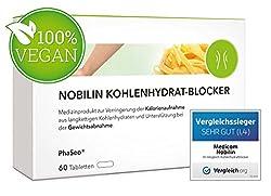 NOBILIN KOHLENHYDRATBLOCKER – 60 Tabletten zur Unterstützung der Gewichtsabnahme, natürlicher Appetitzügler ohne tierische Inhaltsstoffe zum Gewichtsverlust, Diät Kapseln zum Abnehmen