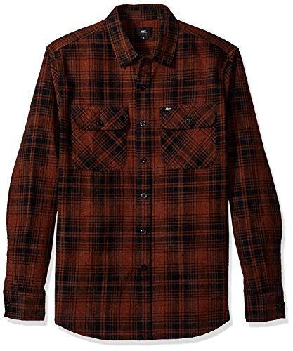 Woven Knuckle (Obey Herren Knuckle Long Sleeve Woven Shirt Button Down Hemd, Rust Multi, Klein)