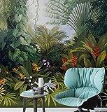 Murale 3D Papier Peint Mural Papier Peint Mur Médiéval Paysage Paysage Végétal Forêt Tropicale Peinte À La Main, 250Cmx175Cm