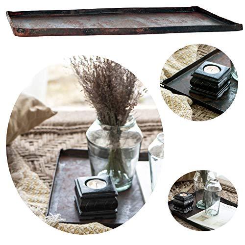 LS-LebenStil Metall Deko-Tablett Backblech 42cm Serviertablett Teelichthalter Kerzen-Teller Schale...