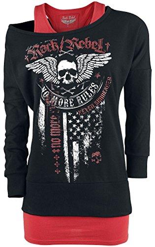 Rock Rebel by EMP Break Free Sweat-Shirt Femme Bordeaux/Noir bordeaux/noir