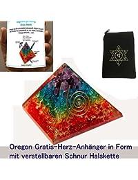 Chakra orgón pirámide, cristal, y de piedras preciosas copper-metal Mix, raras curación, energía positiva y Santa geometría de la memoria, concentración, Meditación, un spiritual-psychic efecto, riqueza, éxito, de-stressing, Love etc