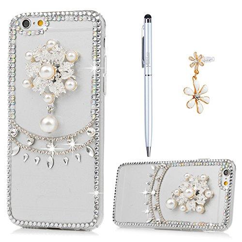 iPhone 6 Cover, iPhone 6S Custodia Slim Rigida Plastica Trasparente Brillantini Strass Bling - MAXFE.CO, Custodia Ultra Sottile Case Protettiva per iPhone 6/6S - Perla Perla