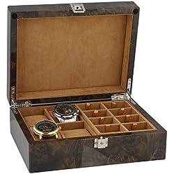 Armbanduhr und Manschettenknöpfe Sammler Box 16Paar Manschettenknöpfe + 4Handgelenk Uhren im Licht Wurzelholz mit massivem Deckel von aevitas