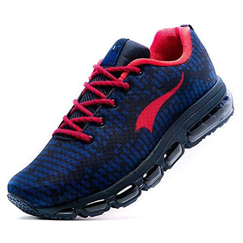 Onemix Homme Air Baskets Course Gym Fitness Sport Chaussures de Running Entrainement Femme Deep Blue/Red