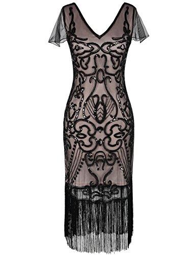 PrettyGuide Damen 1920er Flapper Kleid Pailletten Great Gatsby Cocktailkleider S Schwarz beige (20er Jahre Kostüme)