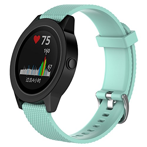 Ersatzbänder für Garmin Vivoactive 3 / Vivomove/Vivomove HR Fitness Uhr 20mm verstellbares weiches Silikonband Schnellspanner Zubehör Armband (Teal, L) (Teal Garmin-uhr)