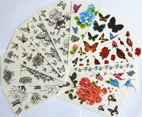 10pcs/package vendita caldo stickers tatuaggio temporaneo vari disegni tra cui fiori neri e farfalle / roses / peonia / crisantemo / fiori colorati e butterlies / labbra rosse / rose rosse / etc .