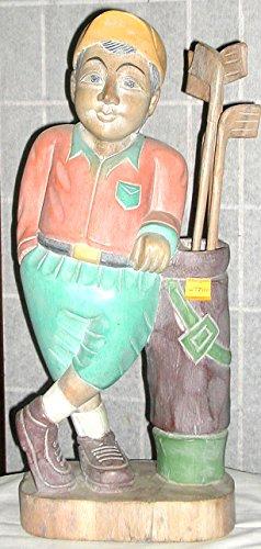 Golfeur Statue en bois sculptée à la main, environ 23x 52cm