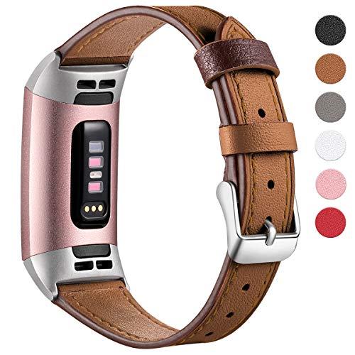 HUMENN Armband für Fitbit Charge 3 Leder Armbänder, Prämie Leder Einstellbare Ersatzband für Fitbit Charge 3, Fitness Zubehör für Männer Frauen Klein Braun