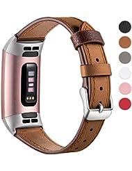 HUMENN Armband für Fitbit Charge 3 Leder Armbänder, Prämie Leder Einstellbare Ersatzband für Fitbit Charge 3, Fitness Zubehör für Männer Frauen Klein Groß