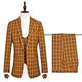 Herren Modern Slim Fit Business Grid Casual 3-Stück-Anzug Blazer Jacke Tux Vest & Hose(orange,M)