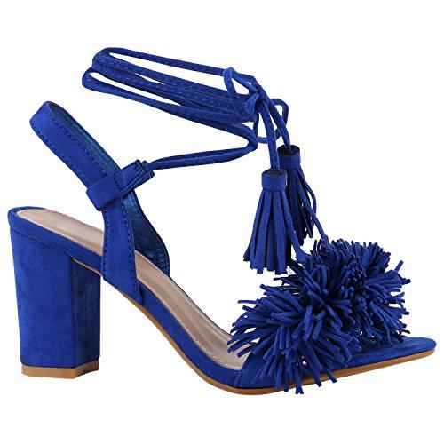 Damen Plateau Sandaletten Peeptoes Party Pumps Blockabsatz High HeelsSatin Samt Strass Fransen Schuhe 142341 Blau Fransen 38 Flandell (Schuh Fransen)