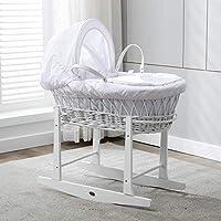 سرير اطفال مع حامل ابيض و مفرش ابيض