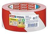 Cinta adhesiva de señalización temporal tesa, color rojo/blanco
