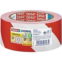tesa Markierungs- und Warnklebeband, rot-weiß, 66m x 50mm