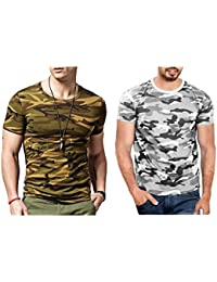 Smartees MultiColor Polyester CamouflageArmy Tshirt For Men Combo Pack Of 2 (Military Tshirt)