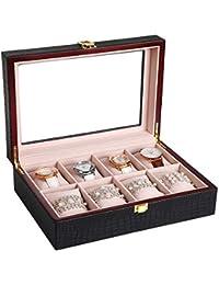 88044d0bbad1 SONGMICS Caja joyero Estuche para Relojes Organizador para Joyas con 8  compartimientos Negro JWB08B