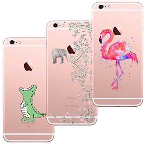 Cute 4 Iphone Gummi Case ([3 Stück] iPhone 5 Hülle, iPhone 5S Hülle, iPhone SE Hülle, Blossom01 Cute Funny Kreative Cartoon Transparent Silikon Bumper für iPhone 5 / 5S / SE - Krokodil & Elefant Blumen & Flamingo)