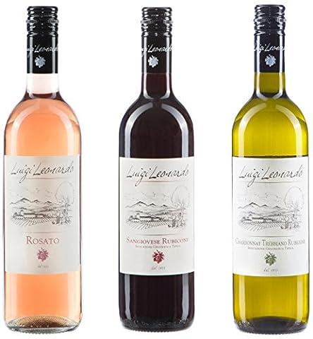 Luigi Leonardo 3er Probierset italienischer Wein aus der Emilia Romagna: Rot, Rosé und Weiß (3 x 0,75 l)