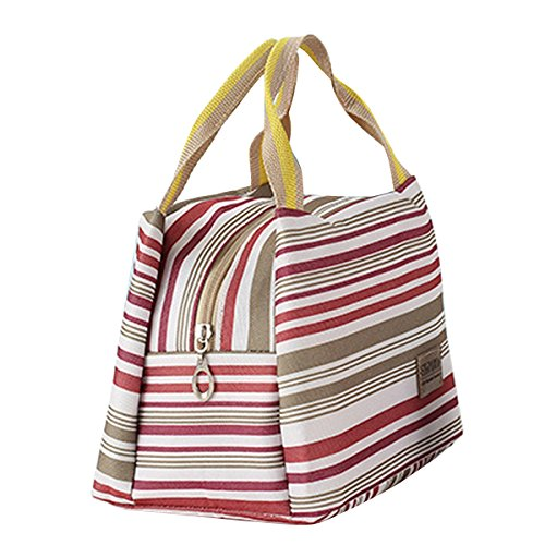 Fletion a righe Oxford panno isolamento pranzo borsa portatile Fresh Sacchetti Pranzo Borsa, Blue Stripes, taglia unica Red Stripes