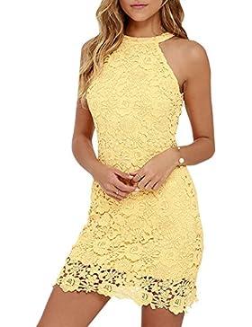 Donne Vestito Pizzo Floreale Halter Vestito da Cocktail Sfera Vestitino Gown