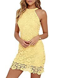 Women's Halter Sleeveless Round Neck Backless Wedding Midi Lace Party Cocktail Dress Yellow Xl