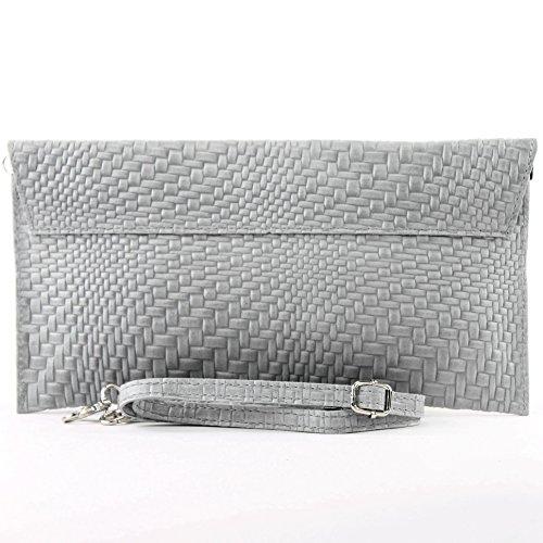 modamoda de - ital. Ledertasche Clutch Unterarmtasche Abendtasche Damentasche Handgelenktasche Flechtmuster T106F Grau
