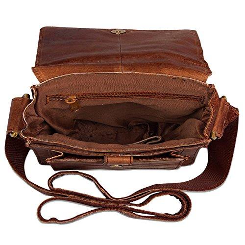 STILORD 'Finn' kleine Umhängetasche Herren Schultertasche Vintage Messenger Bag 8,4 Zoll Tablettasche echtes Büffel-Leder , Farbe:braun Braun