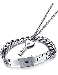Yellow Chimes Engraved Lock and Key Stainless Steel Couple Bracelet Pendant Necklace Set for Boys, Girls, Men & Women