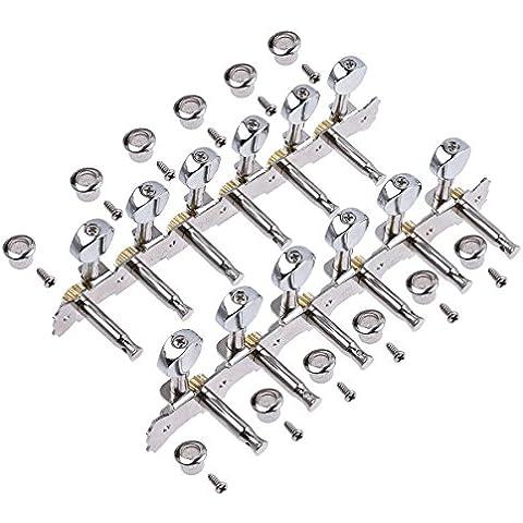 Chrome 12corde chitarra acustica Meccaniche Tuning pioli sintonizzatore 6L6R pulsante chiavi