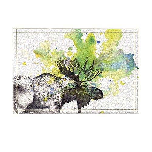 kotom Wild Animal Decor, Aquarell Prairie Wildlife Elch Bad Teppiche, rutschfeste Fußmatte Boden Eingänge Innen vorne Tür Mat, Kinder, 39,9x 59,9cm, Badezimmer Zubehör -