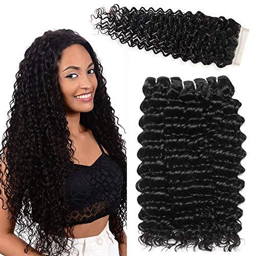 La capelli umani capelli brasiliani vergini liscio capelli ricci in profondità 3 fasci con chiusura extension tessitura capelli veri 30 35 40+25 cm