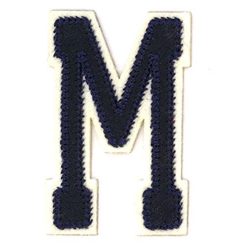 Alphabetbuchstaben nach Uniauswahl Art: blaue Aufbügelapplikation Buchstabe M (Eisen-auf Buchstaben-patches Stoff)